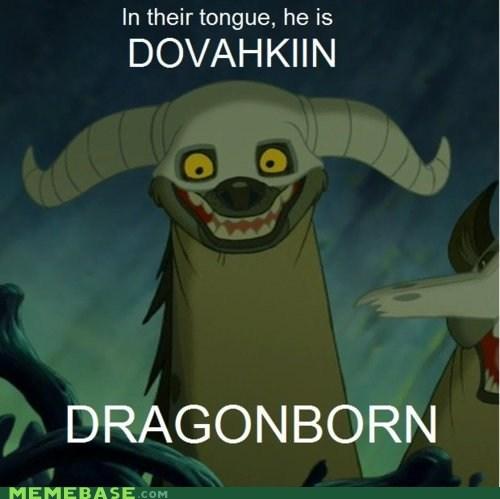 dovahkin,dragonborn,lion king,Memes