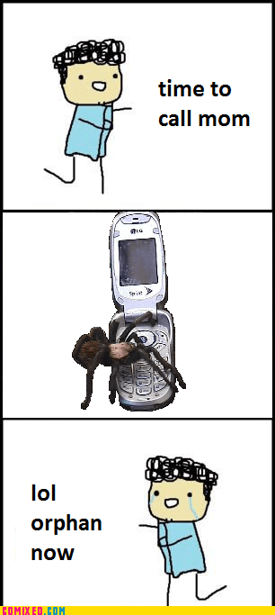 cartoons fear mom orphan phone spider