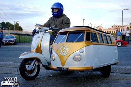 clever,design,driving,motorcycle,sidecar,van,volkswagen