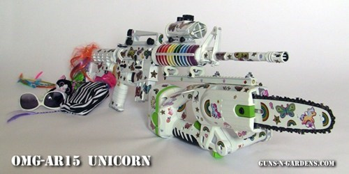 assault rifle chainsaw DIY OMG AR15 Tech unicorn zombie gun weapons - 5807570432
