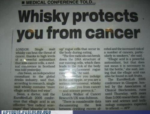 after 12,booze news,cancer,g rated,medical,whisky