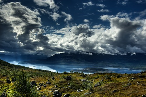 blue,clouds,europe,getaways,green,landscape,national park,scandinavia,Sweden,white