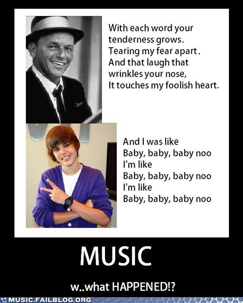 baby,demotivational,frank sinatra,Hall of Fame,justin bieber,nostalgia,pop,sinatra,the way you look tonight,Then And Now