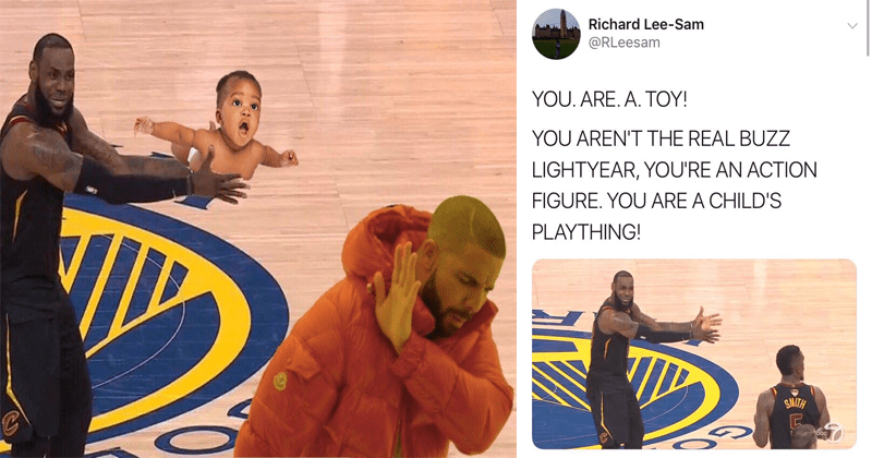 Funny memes and reactions, lebron ractions to J.R. Smith, Cavaliers, Warriors, Toy Story, funny memes, drake, lebron james.