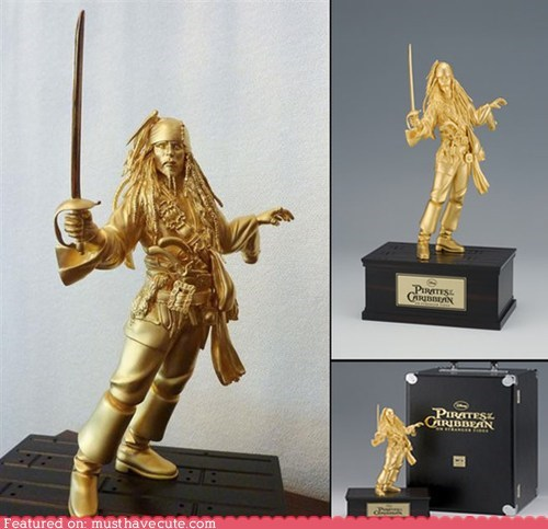 gold jack sparrow Johnny Depp Pirate pirates of the carribean statue - 5809863168