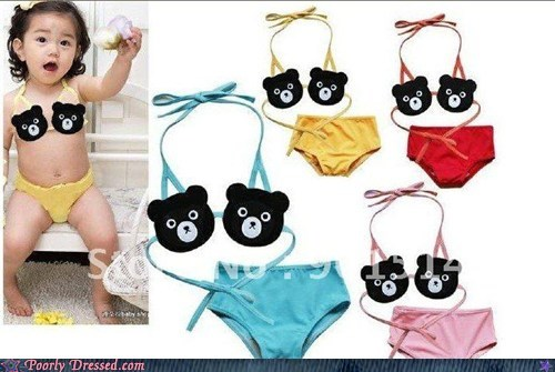 bear bra child parenting swimsuit