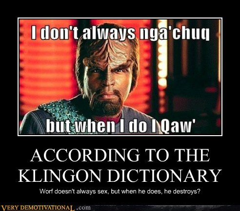 ACCORDING TO THE KLINGON DICTIONARY Worf doesn't always sex, but when he does, he destroys?