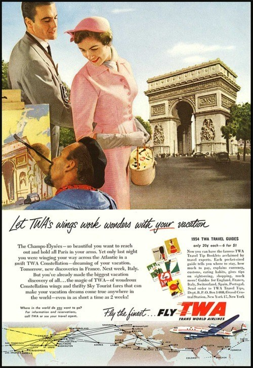 advertisement,airline,getaways,retro travel,twa,vintage travel