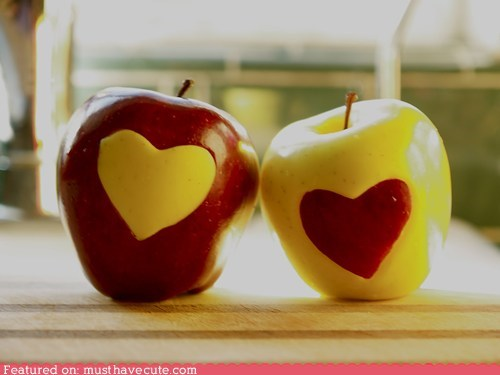 apples epicute hearts red yellow - 5811979264