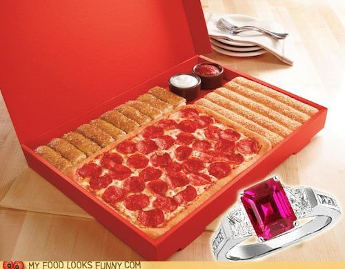 delivery engagement ring pizza pizza hut proposal romantic Valentines day