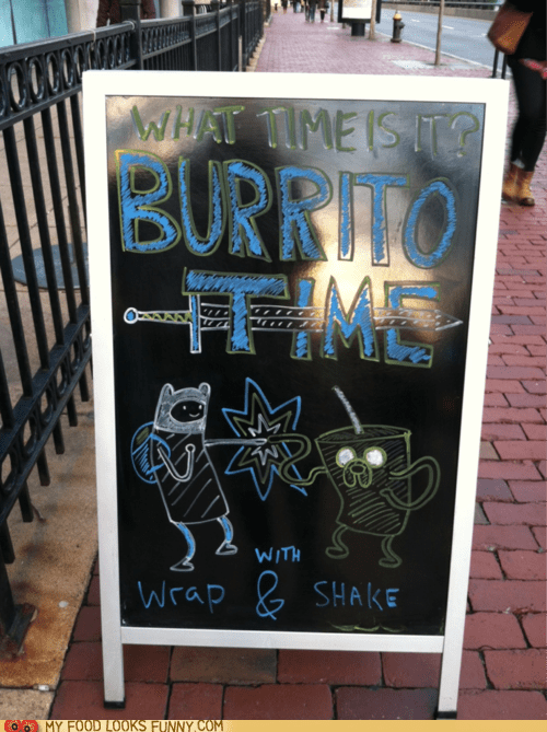 adventure time,board,burrito time,drawing,restaurant