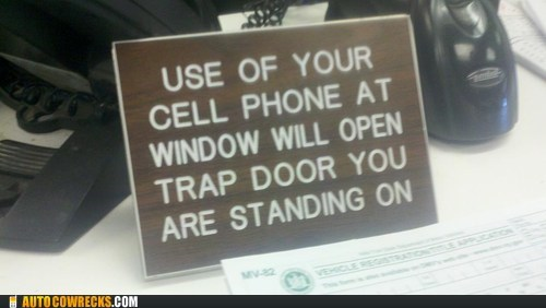 cell phone,loud,overheard,sign,trap door,window,work