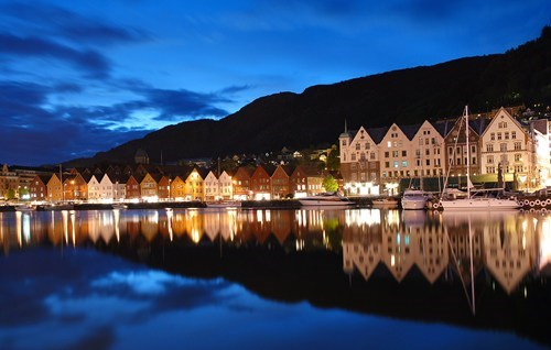 city,europe,getaways,night,night photography,Norway,ocean,scandinavia,town,wallpaper,wallpaper of the day,water