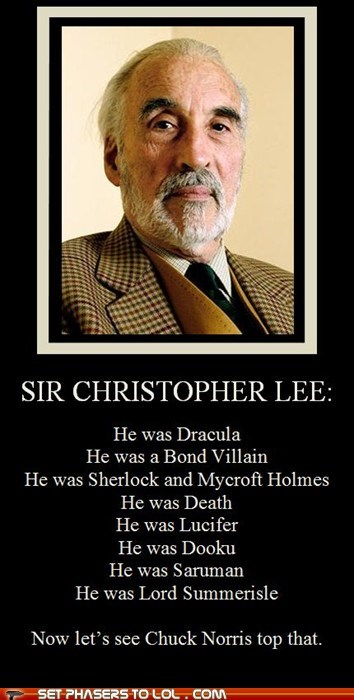 best of the week bond Christopher Lee chuck norris Death dooku dracula Lord of the Rings lucifer mycroft saruman sherlock holmes star wars top villain