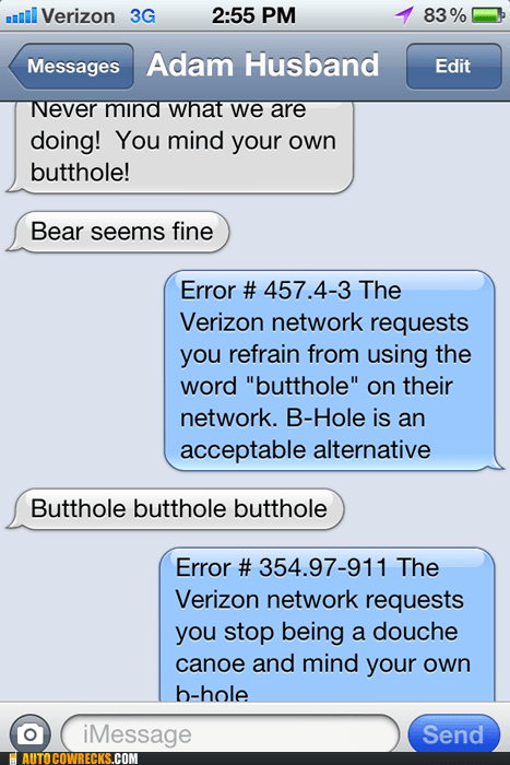 AutocoWrecks,b-hole,business,butthole,censor,error,marriage,married people,verizon
