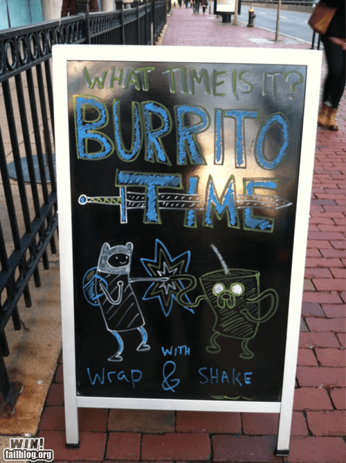 adventure time,business,cartoons,chalk board,restaurant,sign