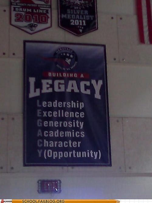 banner,high school,legacy,opportunity,spelling,typo