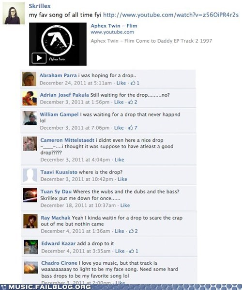 Aphex Twin drop dubstep facebook Hall of Fame skrillex - 5813351424