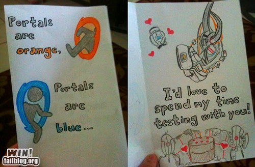 card,nerdgasm,Portal,Valentines day,video games
