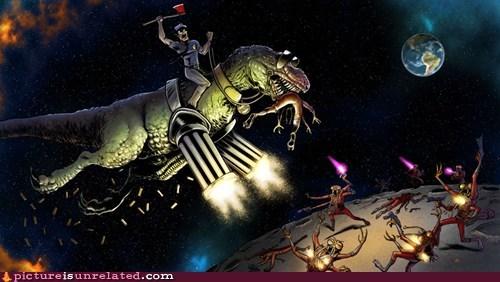 dinosaur fight moon t rex wtf - 5813999872