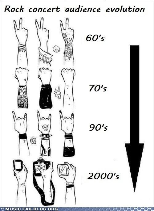 cell phones concert evolution live show rock concert timeline - 5814369024