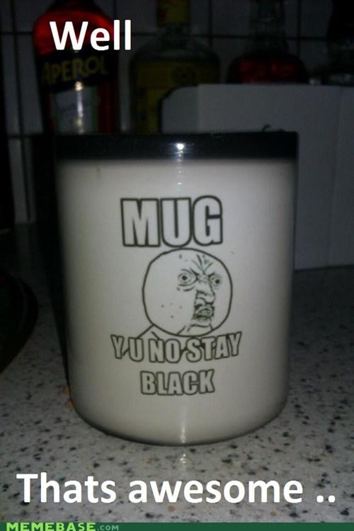 black coffee Heat mug Y U No Guy - 5815312384