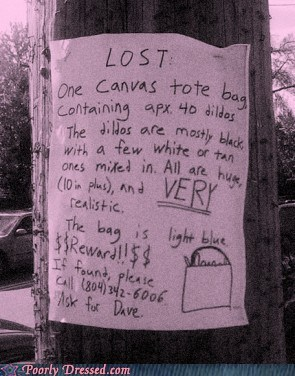 lost,reward,sex toy,tote bag