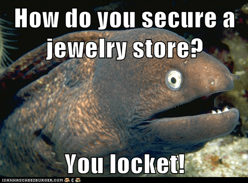 Bad Joke Eel,bad jokes,eels,Jewelry,jokes,lockets,locks,puns,secure,stores
