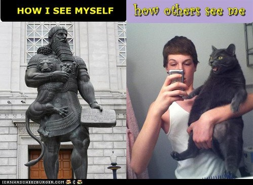 how i see myself,how others view me,multipanel,statues