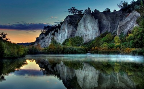 crag geographic formations getaways high definition lake lakeside sunset unknown location - 5817621504