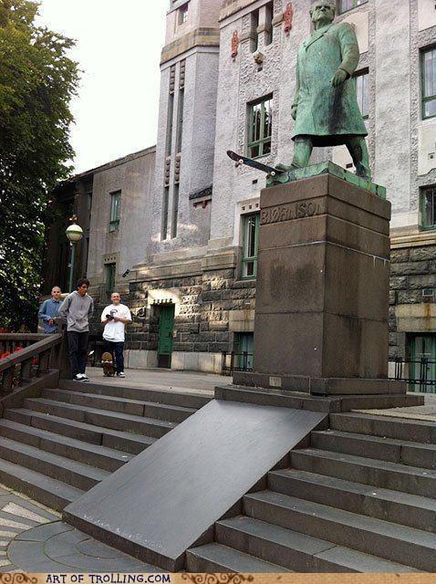 IRL skateboard statue trick - 5817644032