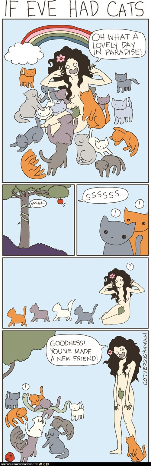 adam and eve,cat versus human,comic,comics,crazy cat lady,Eve,reptiles,snakes
