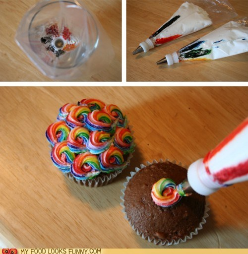 best of the week cupcake frosting How To impressive pastry bag rainbow