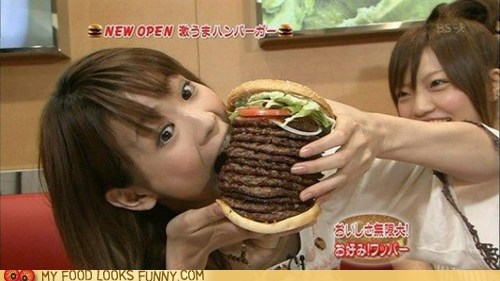 12 patties burger eat giant girl wrong - 5818058496