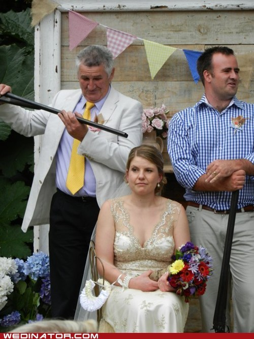 bride,father of the bride,funny wedding photos,guns,shotguns