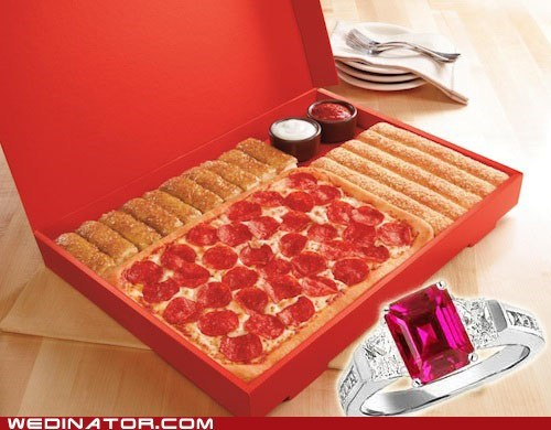 fast food,funny wedding photos,pizza hut,proposal,Valentines day