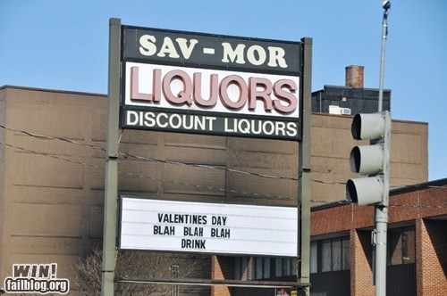 alcohol booze drinking Hall of Fame sign true facts Valentines day - 5818489088