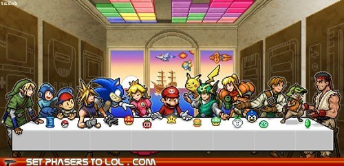 art,earthbound,final fantasy VII,link,mario,ness,princess peach,sonic the hedgehog,the last supper,video games,zelda