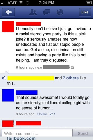 AutocoWrecks,Party,racism,witty reply