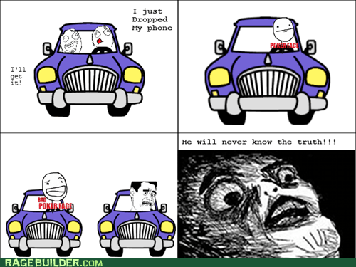 awkwrd,bad poker face,driving,Rage Comics,raisin face