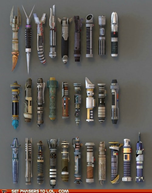 different hilt Jedi lightsabers star wars styles