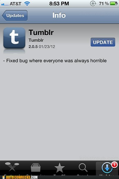 App bug fix horrible horrible people social tumblr update