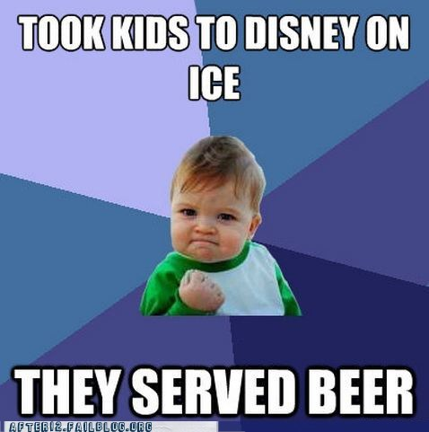 beer,disney,meme,on ice,success kid