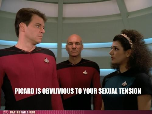 dating fails dont-care drama jean-luc picard patrick stewart sexual tension Star Trek - 5819435776