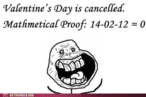 forever alone,math,Valentines day,zero