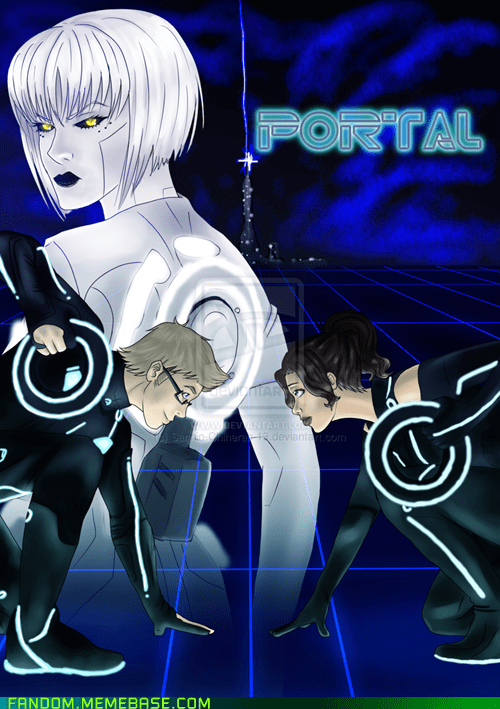 crossover,Fan Art,Portal,tron,video games