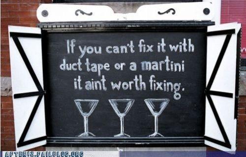 bar,drinking,duct tape,fixing,martini,sign