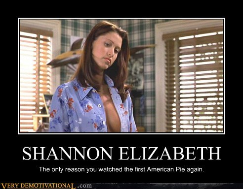 SHANNON ELIZABETH The only reason you watched the first American Pie again.