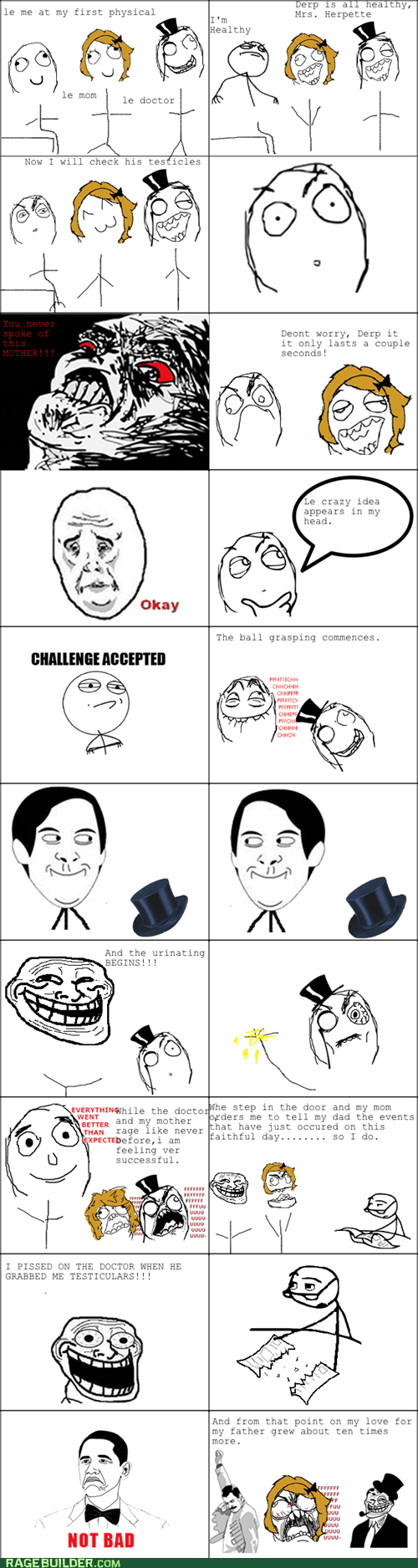 Challenge Accepted,doctor,exam,peetimes,physical,Rage Comics,raisin rage