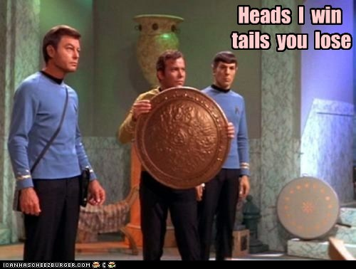 Captain Kirk coin toss DeForest Kelley fair heads Leonard Nimoy McCoy seems legit Shatnerday Spock Star Trek tails William Shatner - 5822708992
